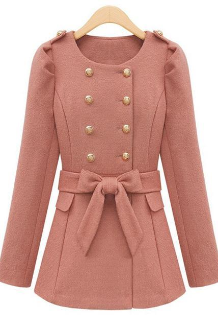 Lady Style Round Neck Belt Decoration Trench Coat - Pink