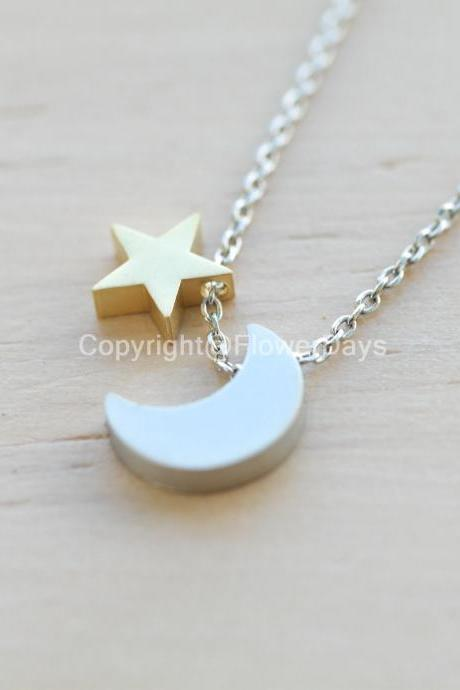 crescent moon and star silver chain Necklace