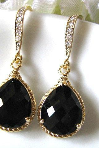 Black Onyx Crystal Glass Drop With Matte Gold Cubic Zirconia Hook Earrings - Bridal Earrings, Bridesmaid Earrings, Wedding Earrings
