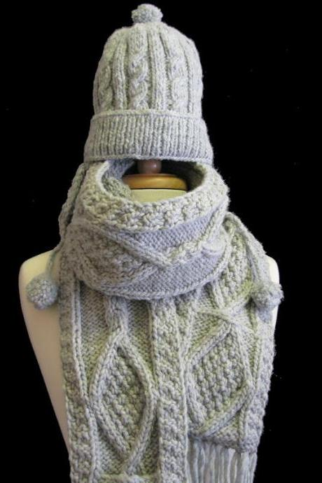 The Gray Joelle Winter Hat and Scarf Set