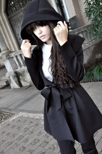 Charming Long Sleeve Trench Coat with Belt - Black