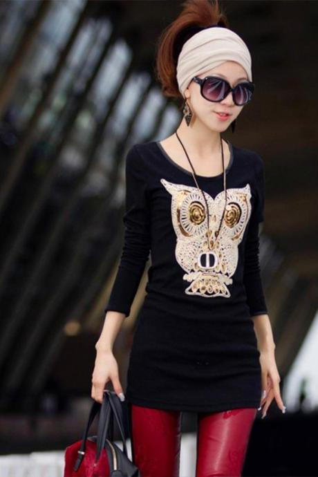 Casual Style Scoop Neck Sequin Owl Long Sleeve T-Shirt For Women