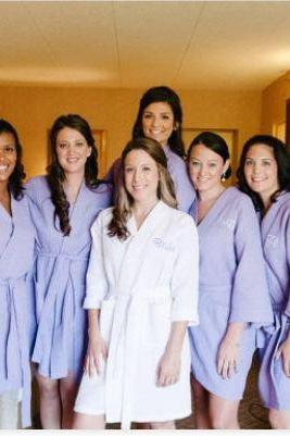 Custom Set of 9 Personalized Waffle Robes. Great Bridesmaid Gifts.
