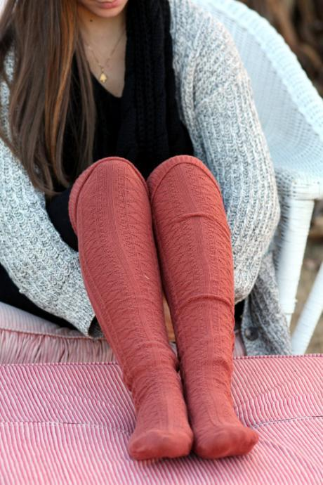 Above Knee Socks, Thick Cotton Socks, Extra Long Socks, Boot Socks,Burnt Ornage , Knitted Socks.