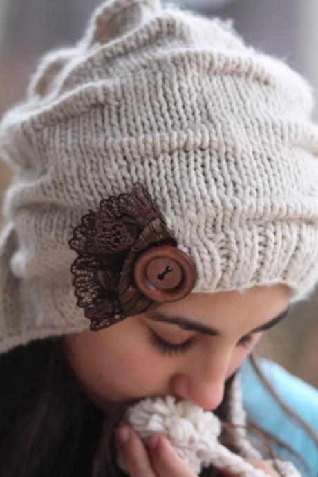 Knitted Hat- Brown Lace, Light beige , infinity scarf, Large Button, Vintage Style Hat, Crochet hat, Heart hat, Love, Chunky scarf,