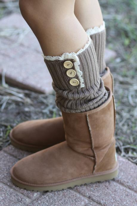 LimitedTime Sale Legwarmers - Knitted, Tan, Brown, Wood Buttons, Cotton, Organic , Boot Cover, Socks, Crochet, Lace Trim, Christmas Gift,