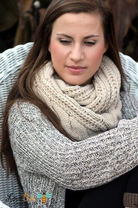Boho Chunky Scarf- Christmas , Cable Knit Scarf, Black, scarf, Infinity Scarf, Thick scarf, Ring scarf,