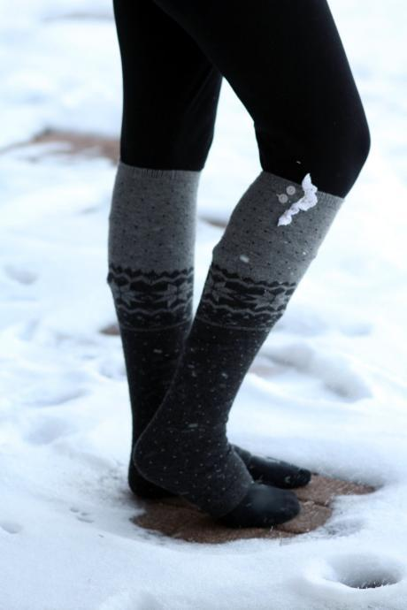 Wool Legwarmers - Boho,Christmas, snowflake, Polka dot, blue , Socks,Gift, winter socks, leg warmers with lace.
