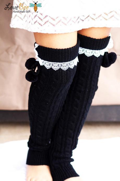 Legwarmers - Boho, Black and White, pom pom, Boot Cover, Socks, Crochet, Lace trim, Ivory Lace Trim, Christmas Gift,
