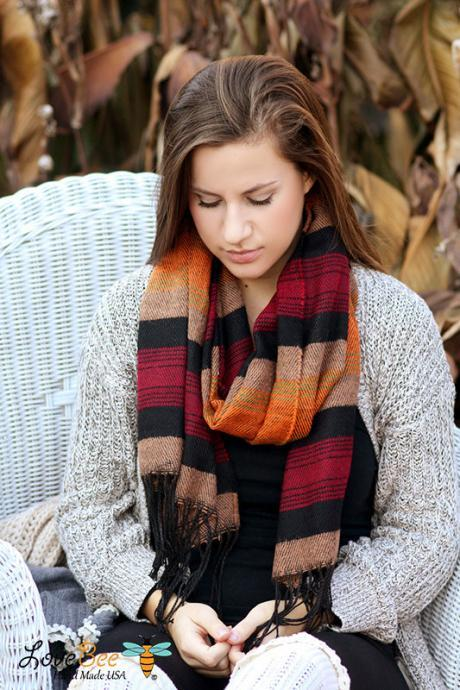 Sale Boho Scarf- Christmas , Tribal Fringed Poncho Scarf - Aztec Shawl Scarf - knitted scarf - Burned orange, Fall color scarf