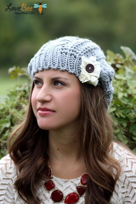Beanie Hat- Light Grey, Accordion lace, Wood Button, Cable Knit, Knitted, Crochet, ivory lace, Christmas Gift.