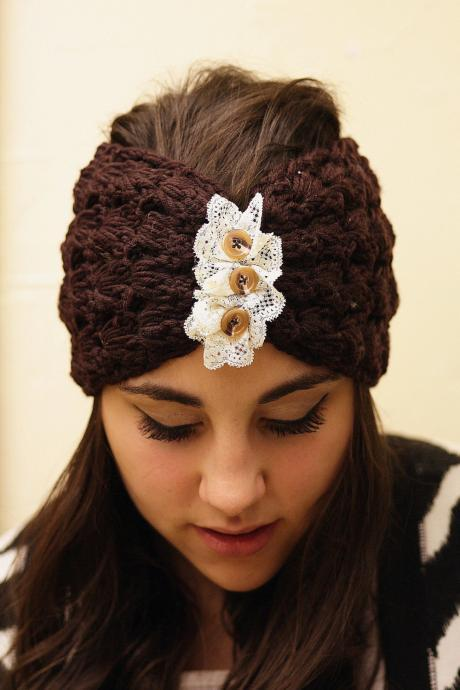 Headband - Knitted , Open-work, Chocolate Brown, Ivory Lace, Accordion, Wide Headband, Turban,