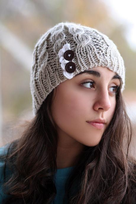 Beanie Hat- , Light beige, , Accordion lace , Wood buttons, Cable Knit, Knitted, Crochet, ivory lace, Christmas Gift.