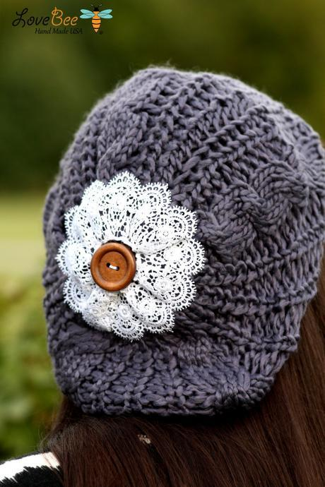 Beanie Hat- Charcoal Grey, Large Lace Flower, Wood Button, Cable Knit, Knitted, Crochet, White lace, Christmas Gift.