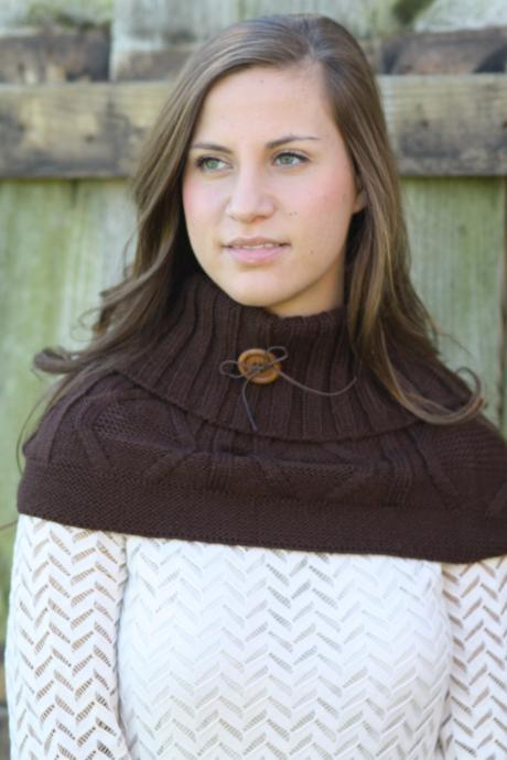 Boho Chunky Scarf- Cowl, Christmas , Cable Knit Scarf, Chocolate Brown scarf, Infinity Scarf, Thick scarf, Ring scarf, Wood Button
