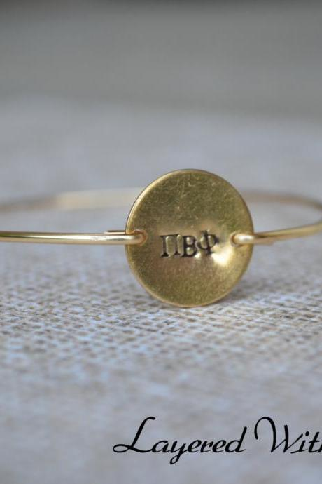 SORORITY Bangle- Greek Letter Bangle- Gold Personalized Disc Bangle Bracelet-Stamped Bangle- Initial Bangle- Gold Bangle- Sorority Jewelry