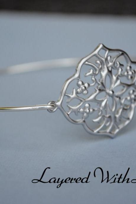 Silver Filigree Bangle- Silver Bracelet- Geometric Bangle- Bangle- Silver Jewelry- Bridesmaids Gifts-Wire Bangle