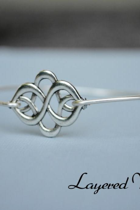 Silver Celtic Knot Bangle- Silver Bracelet- Geometric Bangle- Knot- Silver Jewelry- Bridesmaids Gifts- Minimalist Jewelry