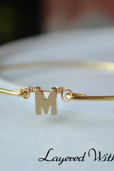 NEW ITEM- Gold Personalized Bangle- Initial Bangle- Gold Bangle- Letter Bangle- Bridesmaids Bangle- Personalized Bangle- Name Bangle