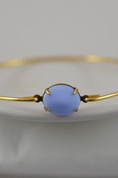 Opaque Soft Robin Egg Blue Vintage Glass Bangle Bracelet- Gold Bangle Bracelet- Stone Bangle- Bridesmaids Gifts- Casual Wear- Minimalist