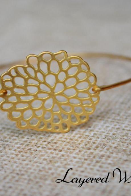 Honeycomb Bangle Bracelet- Gold Bangle - Geometric Gold Bangle- Bridesmaids Gift Ideas- Casual Wear- Minimalist- Wire Bangle- Filigree