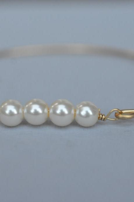 Four Lined Pearl Bangle Bracelet- Pearl Bangle- Gold Bangle- Silver Bangle- Pearl Jewelry- Bridesmaids Jewelry- Pearl Gifts