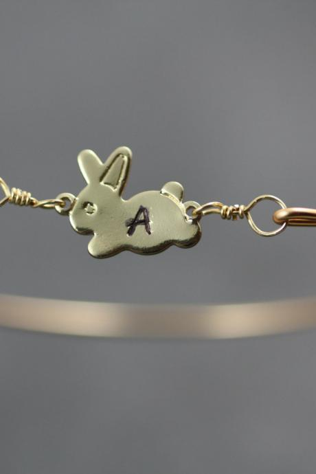 Personalized Gold Bunny Bangle- Bunny Bangle Bracelet- Bridesmaids Gifts- Minimalist Jewelry- Initial Jewelry