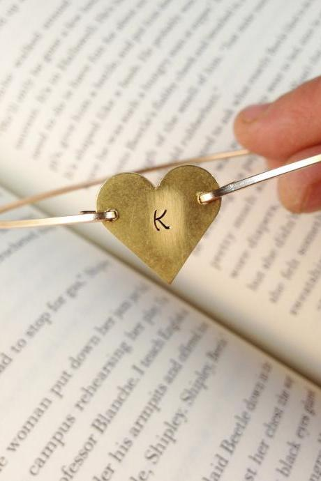 Gold Initial Heart Bangle Bracelet- Heart Bangle- Gold Bangle- Stamped Bangle- Personalized Jewelry- Bridesmaids