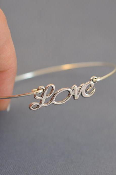 Love Bangle Bracelet- Silver Love Charm Jewelry- Bridesmaids Gifts- Minimalist Jewelry