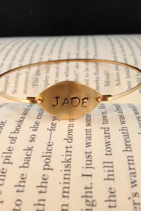 Personalized Gold Bangle- Stamped Bangle- Gold Bangle- Bridesmaids Gifts- Intial Bangle- Gold Jewelry
