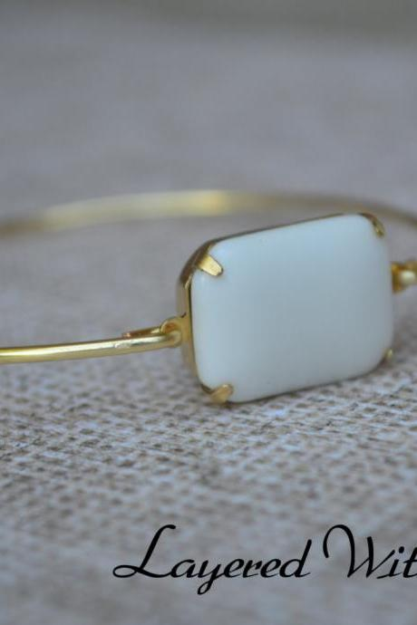 White Vintage Glass Bangle- Gold Bangle- Stone Bangle- Bridesmaids Gifts- Vintage Bangle- Personalized Bangle- Name Bangle- Bridesmaids