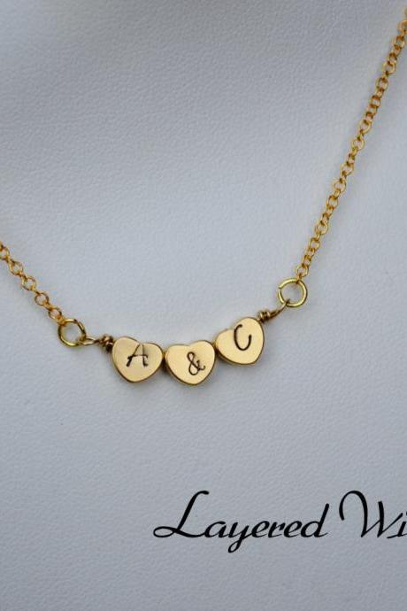 Triple Heart- Personalized Heart Necklace- Gold Necklace- Charm Necklace- Initial Necklace- Stamped Necklace- Bridesmaids Necklace