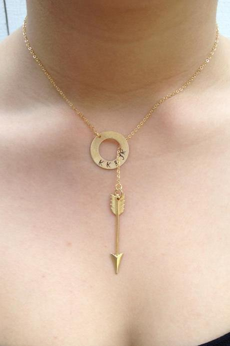 Personalized Gold Piercing Arrow Lariat Necklace