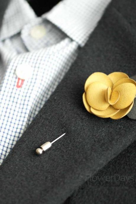 Suede Men's Flower Boutonniere / Buttonhole For Wedding,Lapel Pin,Tie Pin