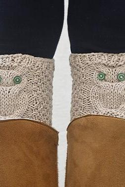 Owl Boot Cuffs, Beige Boot Toppers, Knit Boot Cuff Sock. Owl with Green Eyes.
