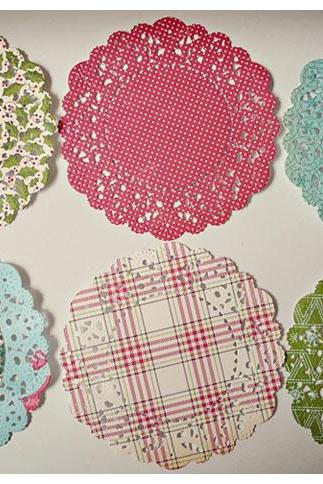 Christmas Paper Doily Holiday style paper / pack for cardmaking, party decoration, scrapbooking