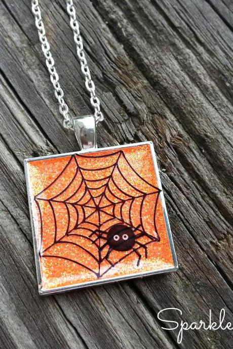 Halloween Spider Tile Necklace