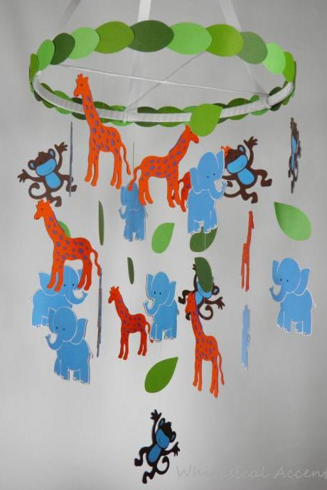 Monkey, Elephant and Giraffe Nursery Decorative Mobile