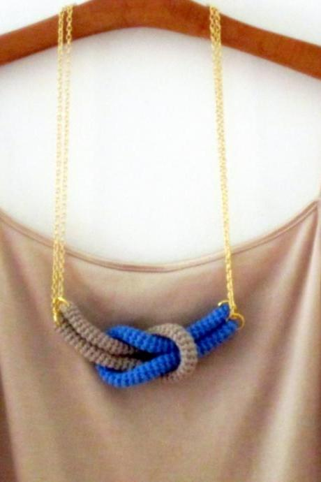 Together, crochet knot necklace. Nautical knot necklace. Blue and sand cotton yarn