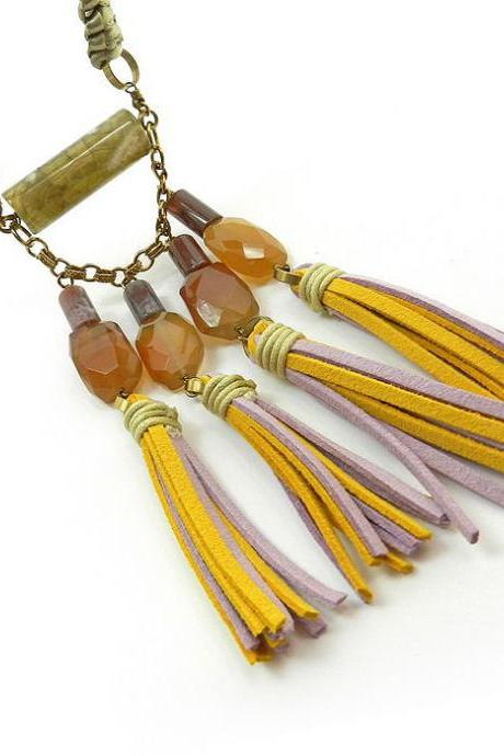 Gemstone tassel statement necklace