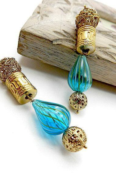 Blue and gold hand blown glass earrings - fashion earrings