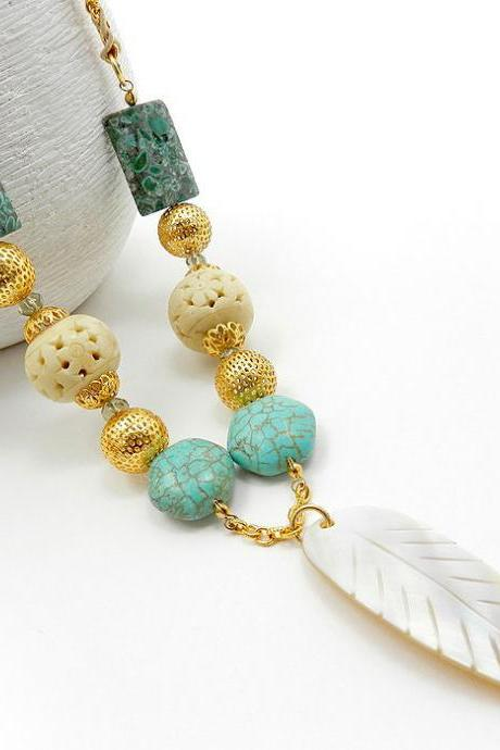 Turquoise and bone beaded necklace