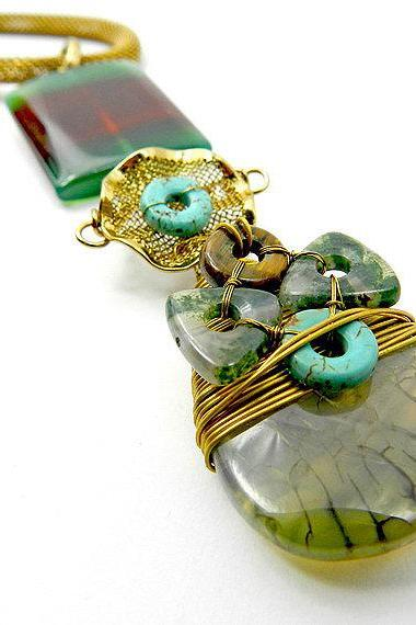 Earthy mix gemstone necklace - unusual jewlery