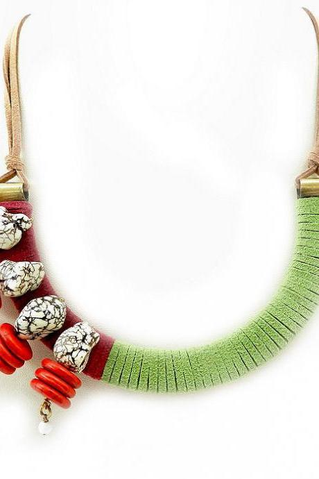 Quirky modern bib necklace - funky folk jewelry