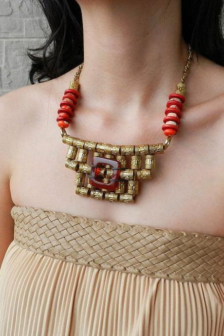 Big ornate tribal statement necklace - ethnic jewelry