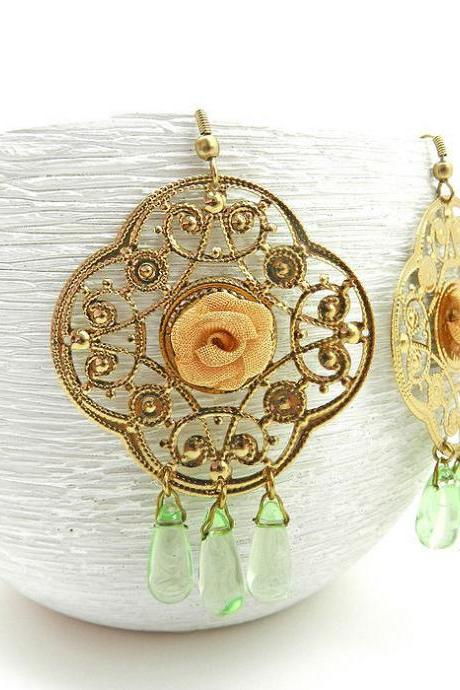 Big gold filigree statement earrings - fashion accessory