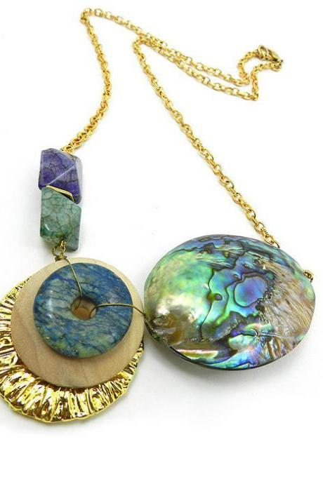 Unusual handmade bib necklace - agate and abalone shell statement necklace