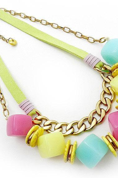 Colorful pastel beaded statement necklace - fashion jewellery accessory