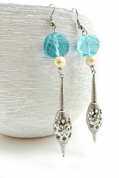 Long blue and silver filigree earrings