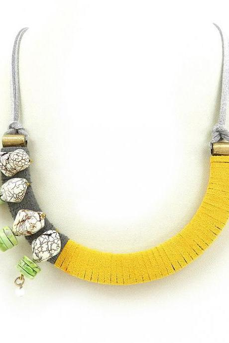 Funky folk handmade statement necklace